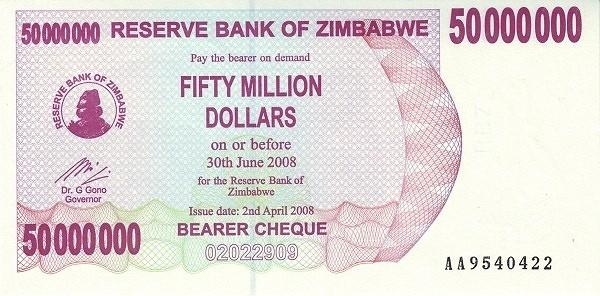 Zimbabwe 50000000 Dollars (2006-2008 Bearer Cheques Emergency)