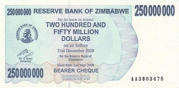 Zimbabwe 250000000 Dollars (2006-2008 Bearer Cheques Emergency)