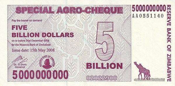 Zimbabwe 5000000000 Dollars (2008 Special AGRO)