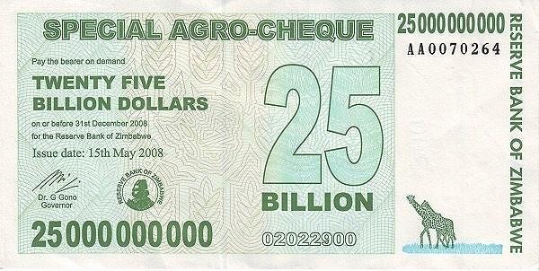 Zimbabwe 25000000000 Dollars (2008 Special AGRO)