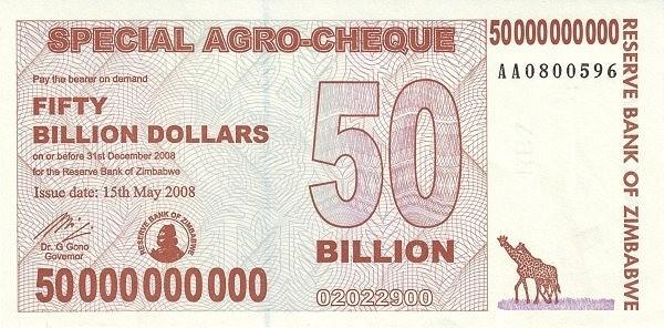Zimbabwe 50000000000 Dollars (2008 Special AGRO)