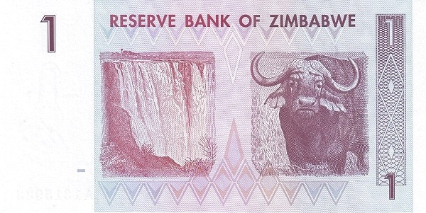"""Zimbabwe 1 Dollar (2007-2008 """"Chiremba Rocks"""")"""