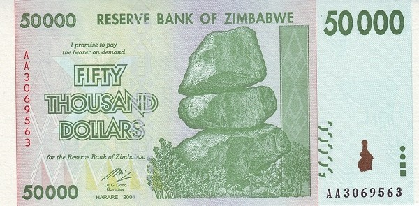 """Zimbabwe 50000 Dollars (2007-2008 """"Chiremba Rocks"""")"""