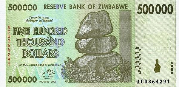 """Zimbabwe 500000 Dollars (2007-2008 """"Chiremba Rocks"""")"""