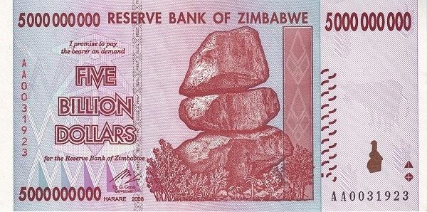 """Zimbabwe 5000000000 Dollars (2007-2008 """"Chiremba Rocks"""")"""