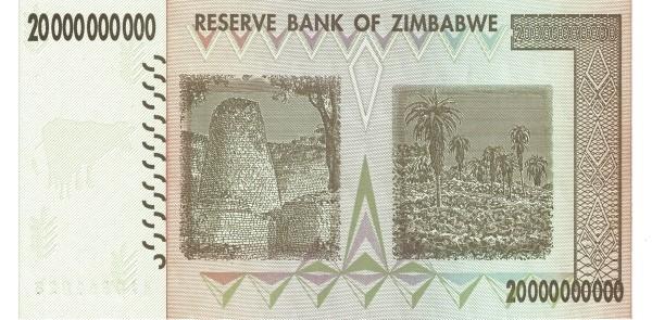 """Zimbabwe 20000000000 Dollars (2007-2008 """"Chiremba Rocks"""")"""