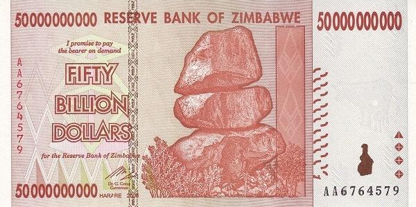 """Zimbabwe 50000000000 Dollars (2007-2008 """"Chiremba Rocks"""")"""