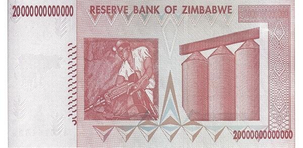 """Zimbabwe 20000000000000 Dollars (2007-2008 """"Chiremba Rocks"""")"""
