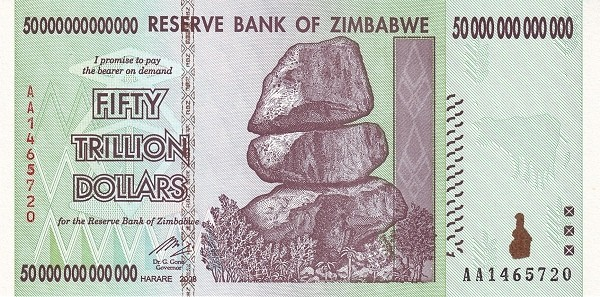 """Zimbabwe 50000000000000 Dollars (2007-2008 """"Chiremba Rocks"""")"""