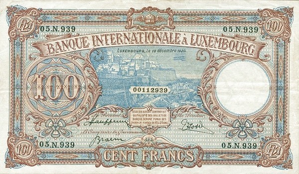 Luxembourg 100 Francs (1930)