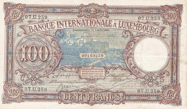 Luxembourg 100 Francs (1936-1940)