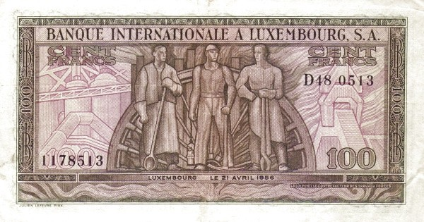 Luxembourg 100 Francs (1956)