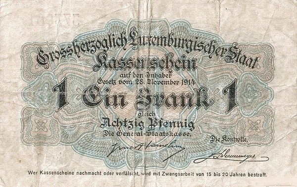 "Luxembourg 1 Franc (1914 ""With Value in Mark"")"