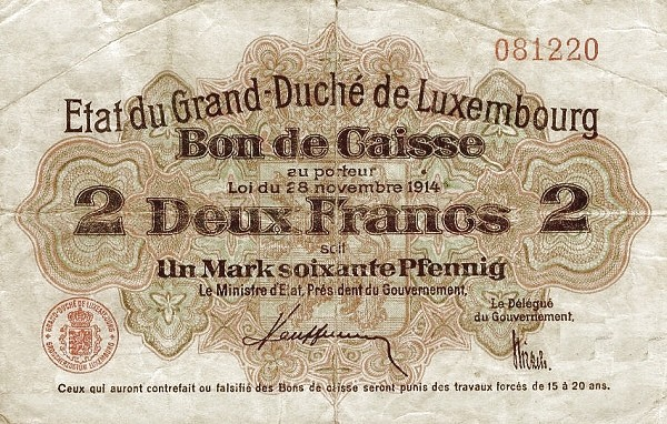 "Luxembourg 2 Francs (1914 ""With Value in Mark"")"