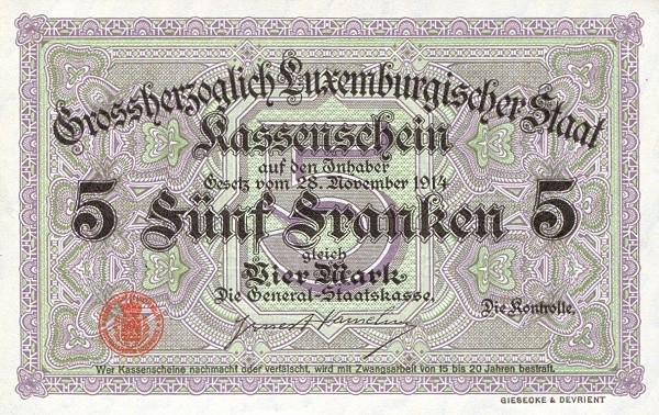 "Luxembourg 5 Francs (1914 ""With Value in Mark"")"