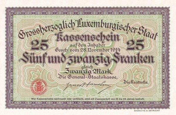 "Luxembourg 25 Francs (1914 ""With Value in Mark"")"