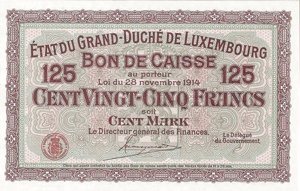 "Luxembourg 125 Francs (1914 ""With Value in Mark"")"