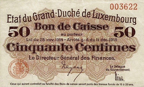 "Luxembourg 50 Centimes (1914-1918 ""Without Value in Mark"")"