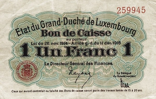 "Luxembourg 1 Franc (1914-1918 ""Without Value in Mark"")"