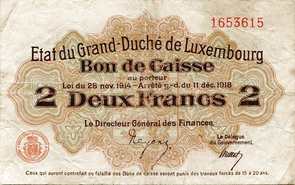 "Luxembourg 2 Francs (1914-1918 ""Without Value in Mark"")"