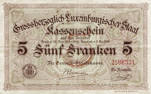 "Luxembourg 5 Francs (1914-1918 ""Without Value in Mark"")"