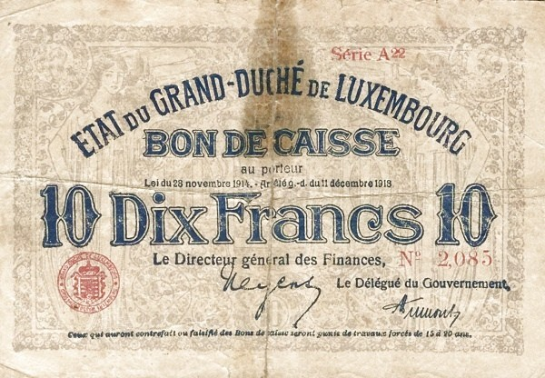 "Luxembourg 10 Francs (1914-1918 ""Without Value in Mark"")"