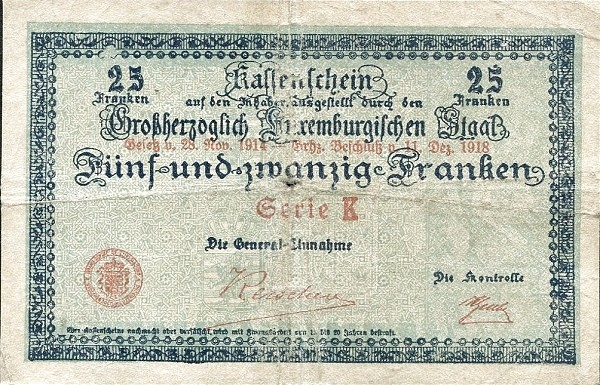 "Luxembourg 25 Francs (1914-1918 ""Without Value in Mark"")"