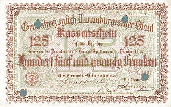 "Luxembourg 125 Francs (1914-1918 ""Without Value in Mark"")"