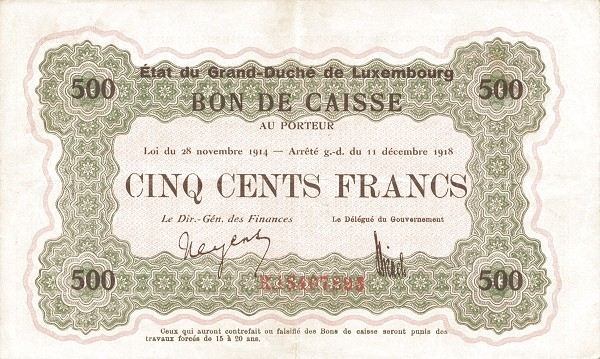 "Luxembourg 500 Francs (1914-1918 ""Without Value in Mark"")"