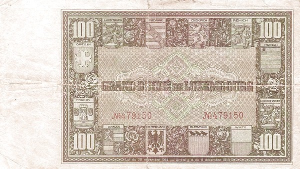 Luxembourg 100 Francs (1923-1927)