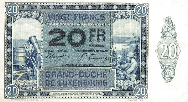 Luxembourg 20 Francs (1929-1939)