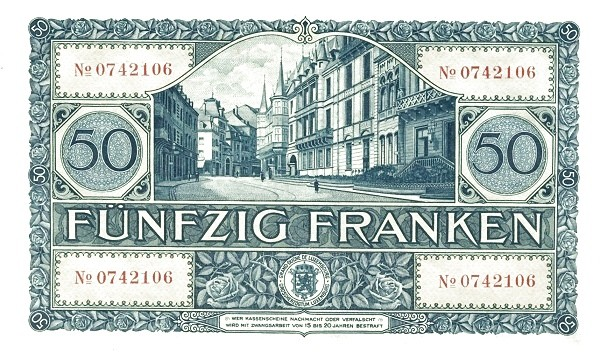 Luxembourg 50 Francs (1929-1939)
