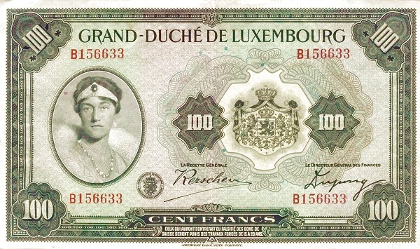 Luxembourg 100 Francs (1929-1939)