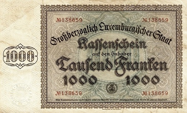 Luxembourg 1000 Francs (1929-1939)