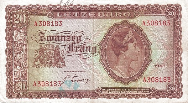 Luxembourg 20 Frang (1943-1944)