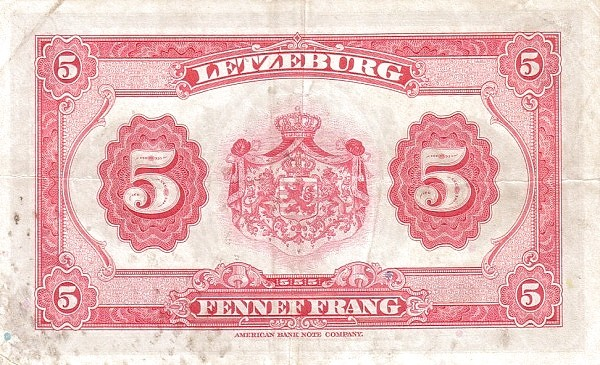 Luxembourg 5 Frang (1943-1944)