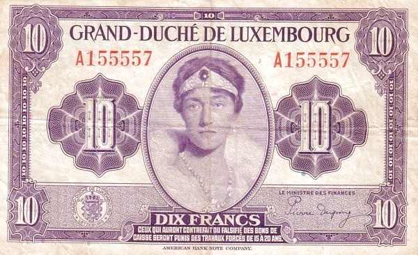 Luxembourg 10 Frang (1943-1944)