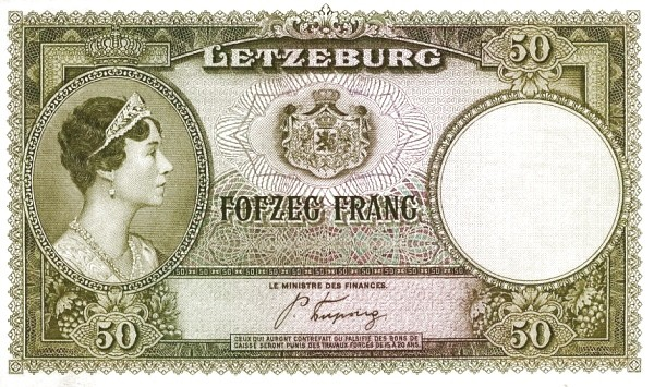 Luxembourg 50 Frang (1943-1944-2)