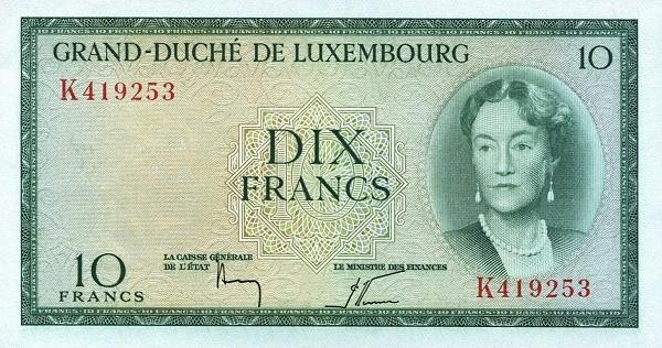 "Luxembourg 10 Francs (1954-1956 ""Grand Duchess Charlotte"")"