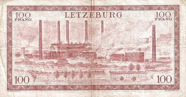 "Luxembourg 100 Francs (1954-1956 ""Grand Duchess Charlotte"")"