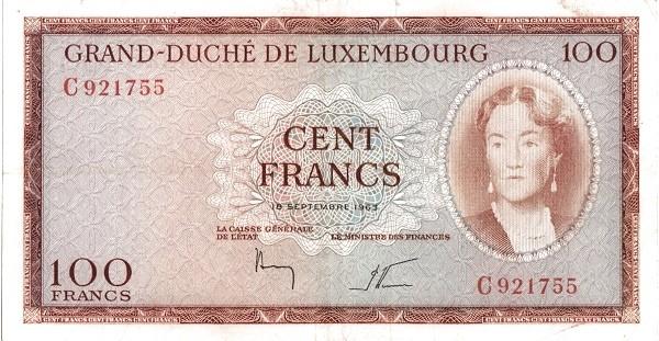 "Luxembourg 100 Francs (1961-1963 ""Grand Duchess Charlotte"")"