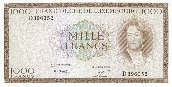 "Luxembourg 1000 Francs (1961-1963 ""Grand Duchess Charlotte"")"