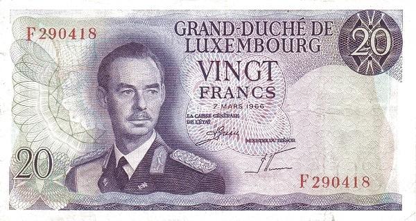 "Luxembourg 20 Francs (1966-1972 ""Grand Duke Jean"")"