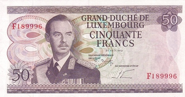 "Luxembourg 50 Francs (1966-1972 ""Grand Duke Jean"")"