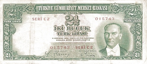 Turkey 2½ Lirasi (1937-1939)