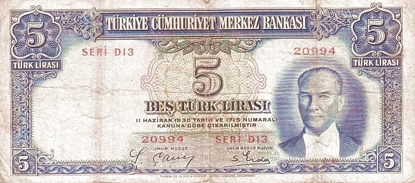 Turkey 5 Lirasi (1937-1939)