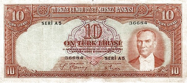 Turkey 10 Lirasi (1937-1939)
