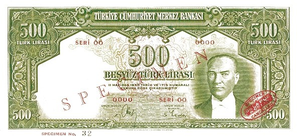 Turkey 500 Lirasi (1937-1939)