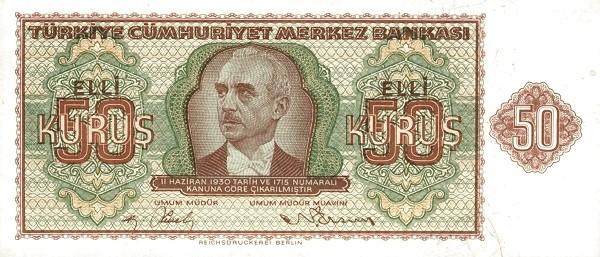 Turkey 50 Kurus (1940-1944-2)