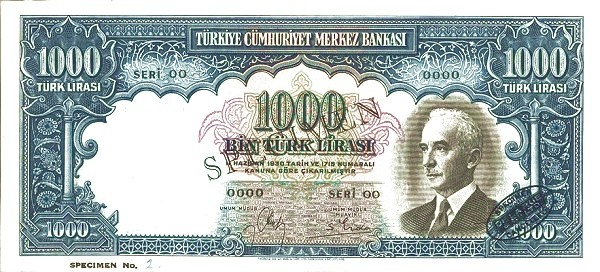 Turkey 1000 Lirasi (1940-1944)